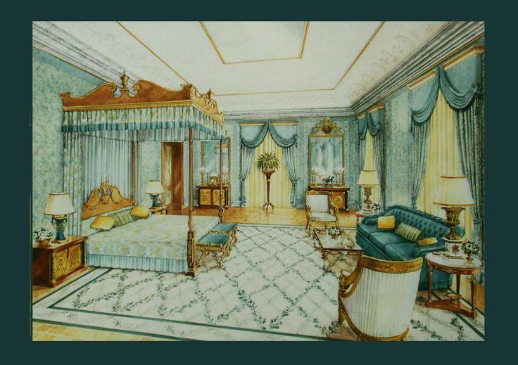 Master bedroom. Watercolor  on www.malleorossi.it