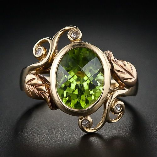 Vintage 10k Yellow And Rose Gold, Diamond And Peridot Ring c.1940's-1950's Lang Antiques