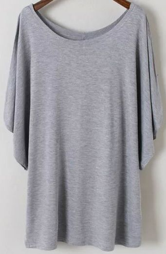 Grey Batwing Short Sleeve Loose Modal T-Shirt 11.83