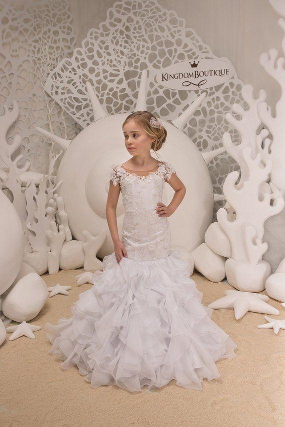 45fdab64cd9 White Flower Girl Mermaid style Dress -Wedding Party Bridesmaid ...