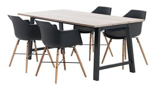 Tafel GADESKOV + 4 stoelen zwart SEM   JYSK