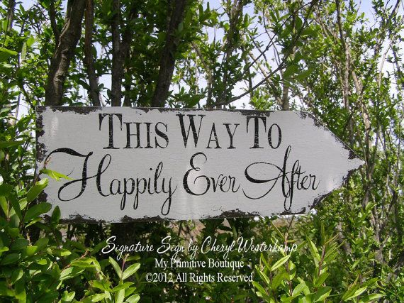 This Way To HAPPILY EVER AFTER, Vintage Wedding Sign, Romantic Weddings, Custom Wedding Sign on Etsy, $41.60 AUD