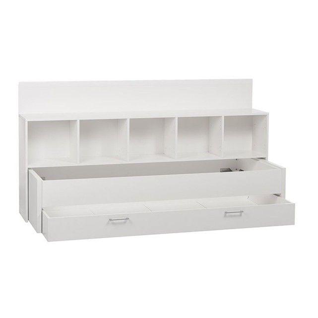 Lit Sous-Combles 90x200 avec Environnement de Lit :- Bois MDF- Lit tiroir 2 couchages 90x200 avec 2 sommiers- Environnement de lit 5 niches de rangement- Environnement ajustable en hauteur (de 100 à 117 cm) en fonction du toit- Coloris : blanc- Livré en kit- Gain de place- Prévu pour accueillir un matelas 90x200 cm d'une épaisseur maximale de 14 cm (non inclus)Dimensions du couchage supérieur une fois installé : Longueur 210 cm, Largeur 96 cm, Hauteur 44 cm.Dimensions du couchage inférieu...