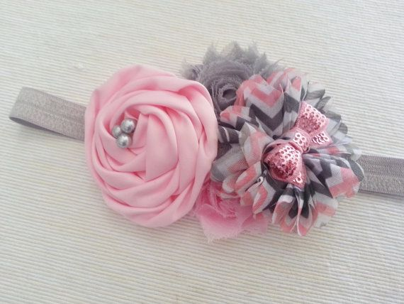 Baby Girl Headband with Chevron Flower and Shabby by twosupply, $10.00