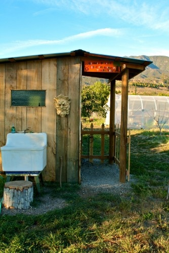 outhouse- but with a flushable potty. wonder how that outdoor sink would hold up to the elements?