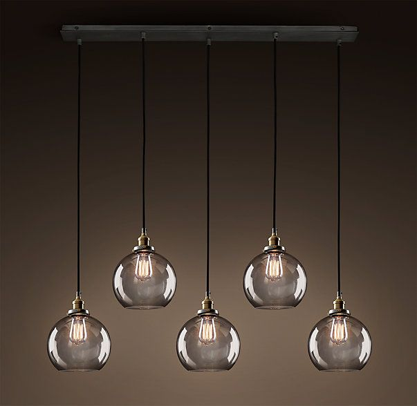 RH's 20th C. Factory Filament Smoke Glass Café Rectangular Pendant:Evoking early 20th-century industrial lighting, our reproductions of vintage fixtures retain the classic lines and exposed hardware of the originals.