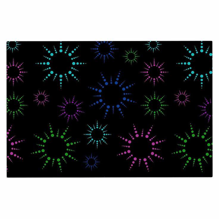 "NL Designs ""Rainbow Fireworks Black"" Multicolor Geometric Decorative Door Mat"