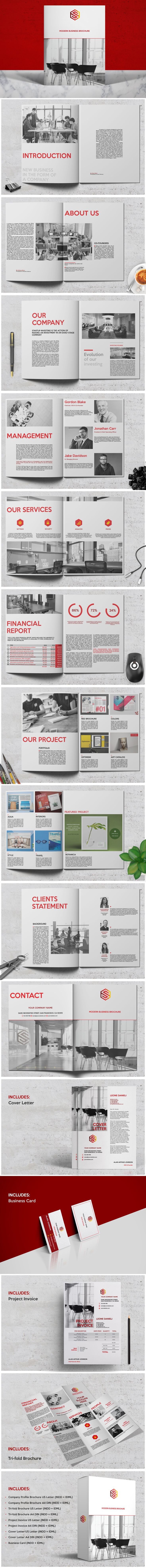 Red - Business Brochure + Tri-fold Brochure + Project Inovice + Cover Letter + Busniess Card. Templates A4 & US Letter