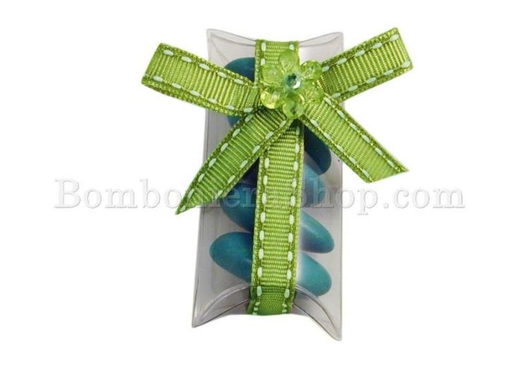 Classica bustina portaconfetti trasparente con un carinissimo fiocco verde!!