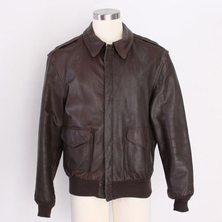 Men's Cooper A-2 Brown Flight US Air Force Bomber Leather Goatskin Jacket