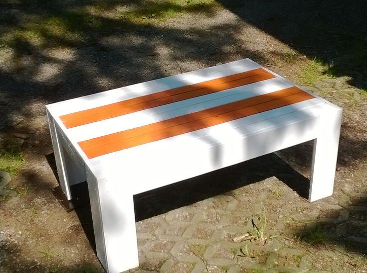 Stylish,modern, recycled modern pallet white/orange coffee table HAND MADE  http://www.ebay.co.uk/itm/251581869551?ssPageName=STRK:MESELX:IT&_trksid=p3984.m1555.l2649