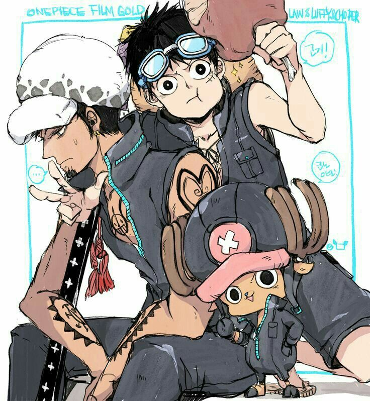Law, Luffy, Chopper, funny, eating, meat, peace sign, text, goggles; One Piece
