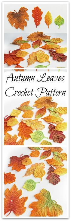 Crochet pattern Autumn leaves. Crochet leaf pattern. Crochet fall leaves Thanksgiving decor. Autumn decorations, leaf appliques. #ad #affiliate