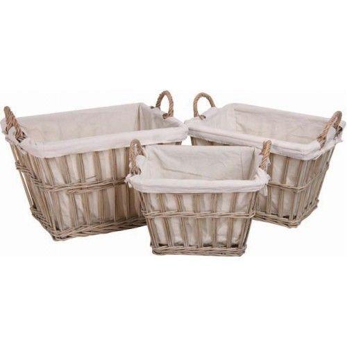 Vintage Deep Rectangular Baskets - Set of Three £79.99