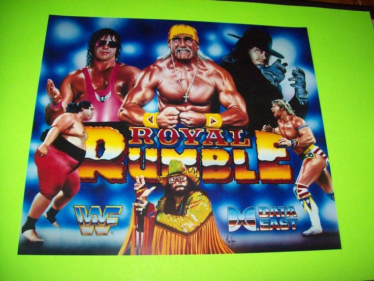 Data East ROYAL RUMBLE 1994 Original NOS Pinball Machine Translite Artwork Sheet #DataEast