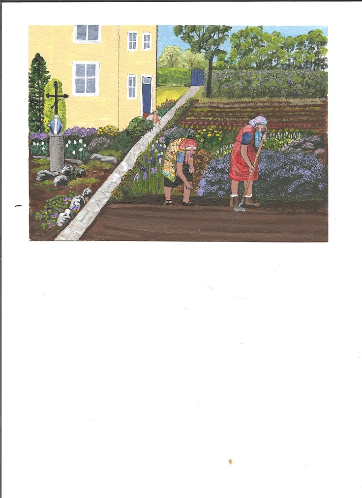One of my paintings of a favourite theme: Babas in gardens.
