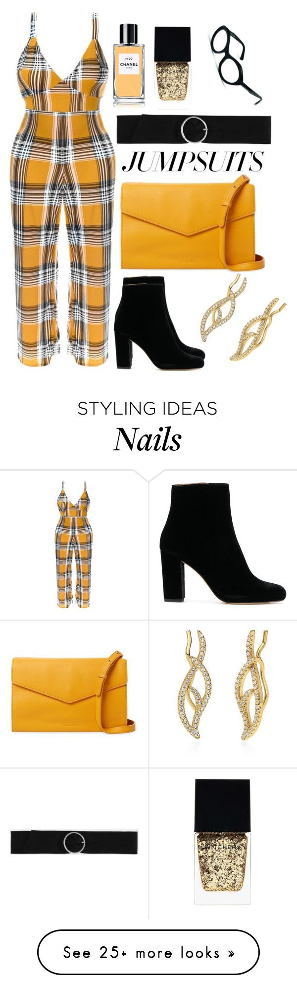 """Plaid jumpsuit"" by dakotabydesign on Polyvore featuring IRO, Steven Alan, BERRICLE, CHARLES & KEITH, Chanel and Witchery"