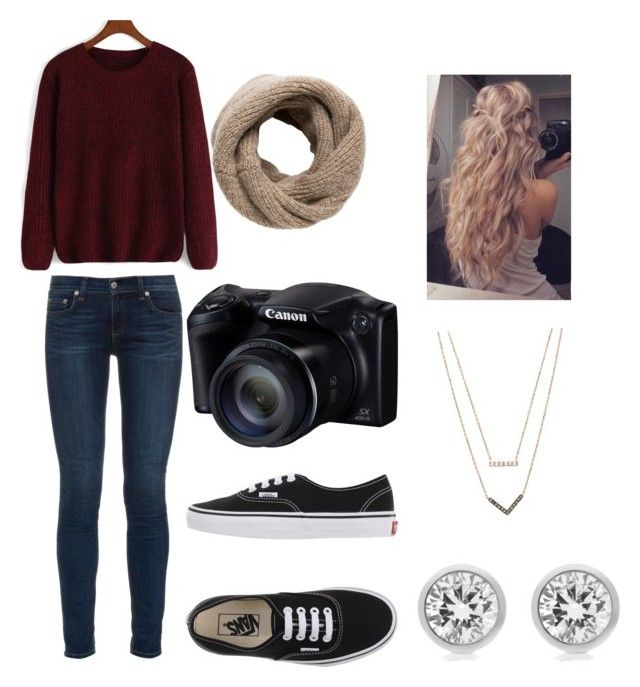 """""""Winter warm red sweater jeans teen fall vans outfit"""" by nicolethroupe-1 on Polyvore featuring rag & bone, Vans, MANGO and Michael Kors"""