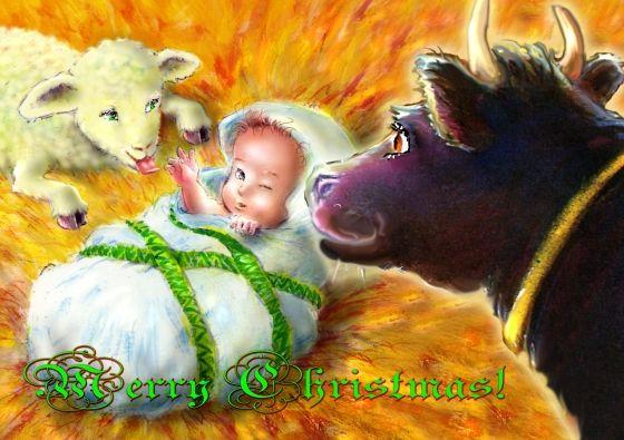 Het Kerstkindje in z'n kribje (© Magda van Tilburg   Booxalive.nl)