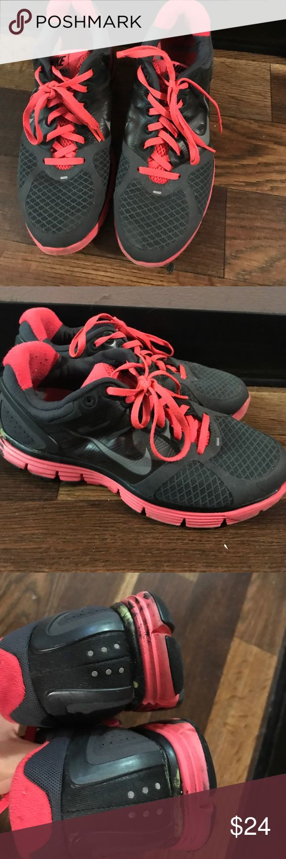 Nike lunarglide 2 running sneakers Used Nike hot pink and gray sneakers Nike Shoes Athletic Shoes