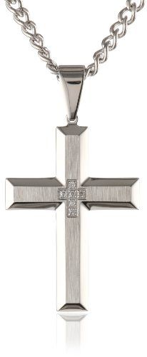 Men`s 0.05 Ctw Stainless Steel Cross Pendant Necklace, 24 - List price: $99.00 Price: $49.00 + Free Shipping