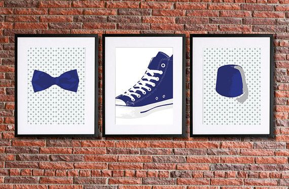 Blue Doctor Who Inspired Art  Set of 3  8x10 by pennyPRINTABLE, $7.00