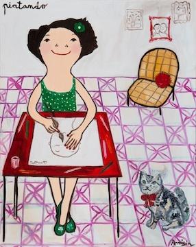 "Eva Armisen - ""painting""  oil on canvas  35.88x28.47 inches"