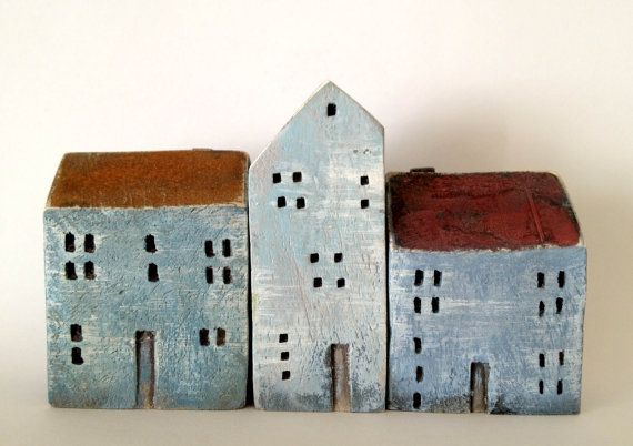 set of 3 ceramic houses painted with acrylic colors by VGCLAYART