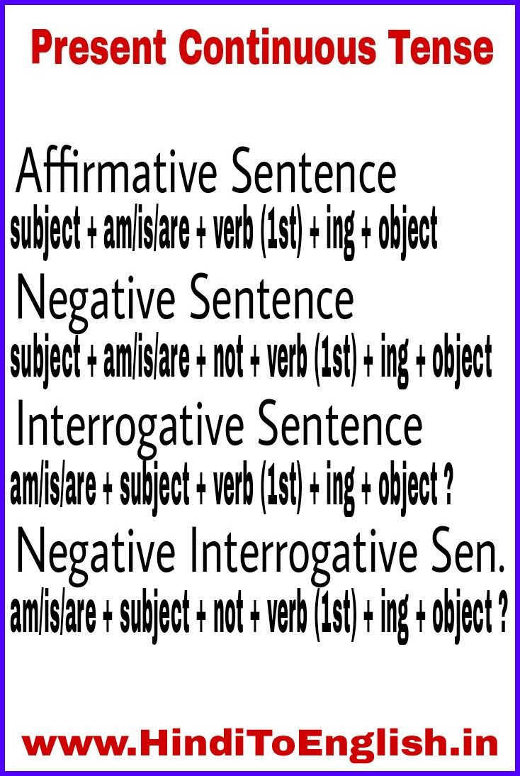 Present Continuous Tense | English opposite words, Opposite words, Learn  english