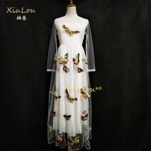 2017 европейская мода Длинные рукава белый dress летняя мода вышитые бабочки dress плюс размер летние платья для женщин(China (Mainland))