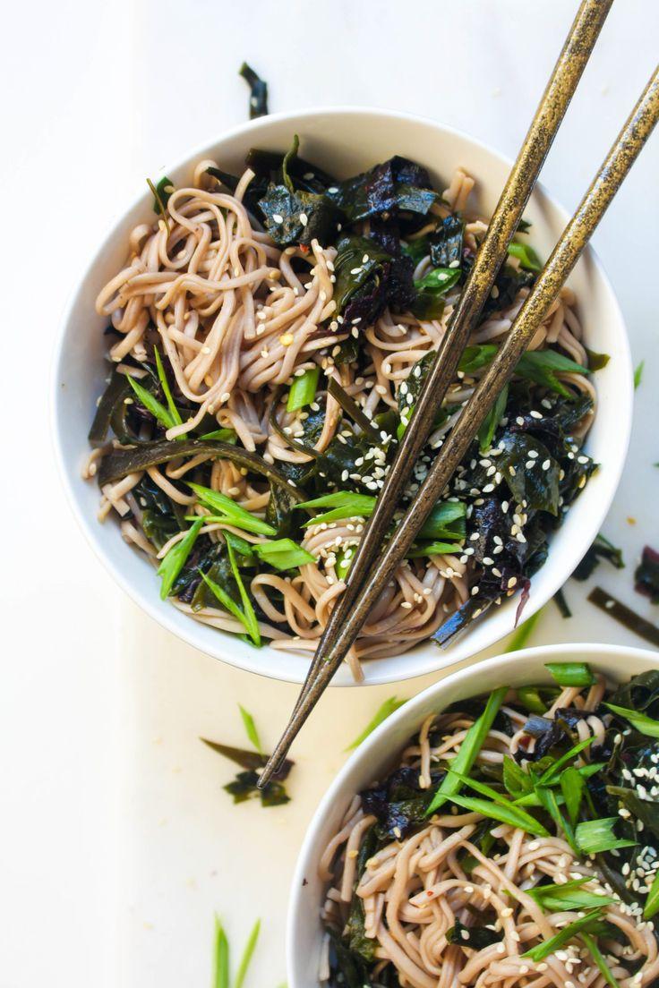 Seaweed soba salad / noodl bowl  [nori,  dulse (sea red algae),  wakame,  kombu,  sesame seeds, scallions. Dressing: rice vinegar, coconut sugar, liquid aminos, sesame oil, red pepper flakes, fresh grated ginger]