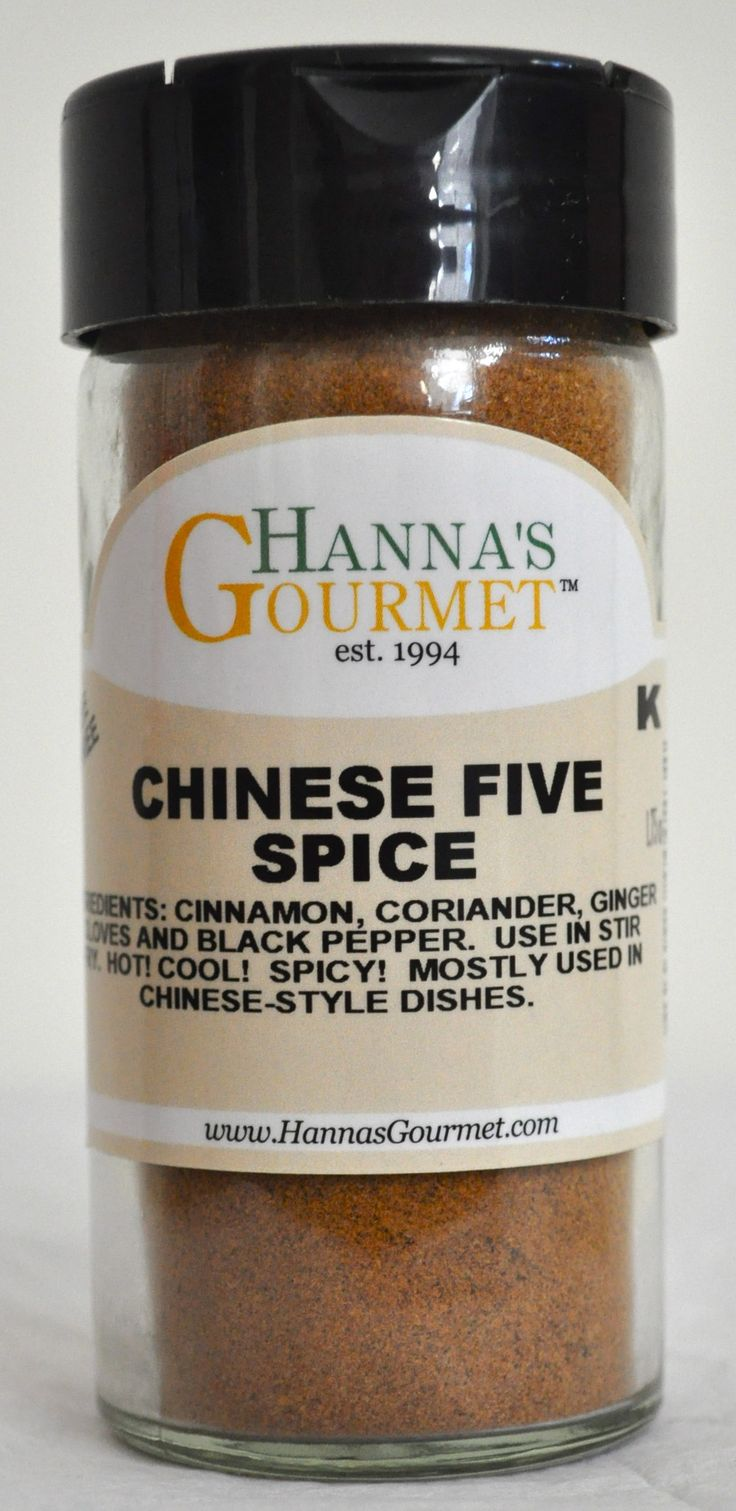 CHINESE FIVE SPICE: Ingredients: Cinnamon, Coriander, Ginger, Cloves and Black Pepper. Use in stir fry. HOT! COOL! SPICY! Mostly used in Chinese-style dishes