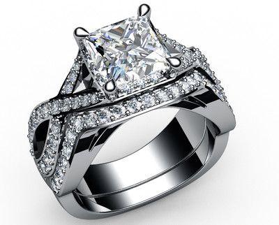 1.32 CT PRINCESS 18KT SOLID WHITE GOLD MATCHING WEDDING RING BRIDAL SET RINGS $3700.00