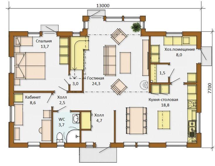 Финский дом Барбара 13х8 с мансардой