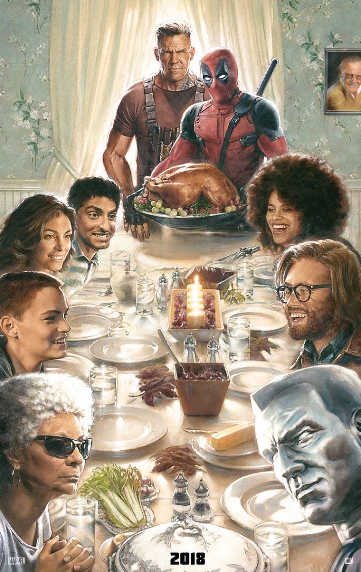 """Deadpool 2 Reveals Thanksgiving-Themed Poster  Ryan Reynolds revealed a special Thanksgiving-themed Deadpool 2 poster.  Reynolds shared the poster on Twitter saying""""Thanksgiving in our house is a glorious non-stop car accident set to the music of cocaine."""" Check out the poster below whichfeatures all of the main characters from the upcoming sequel includingJosh Brolin as Cable and Zazie Beetz as Domino.   Deadpool 2 Thanksgiving poster image via Twitter.  Continue reading…"""