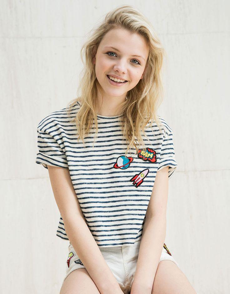 Bershka Malaysia - BSK patches & stripes T-shirt
