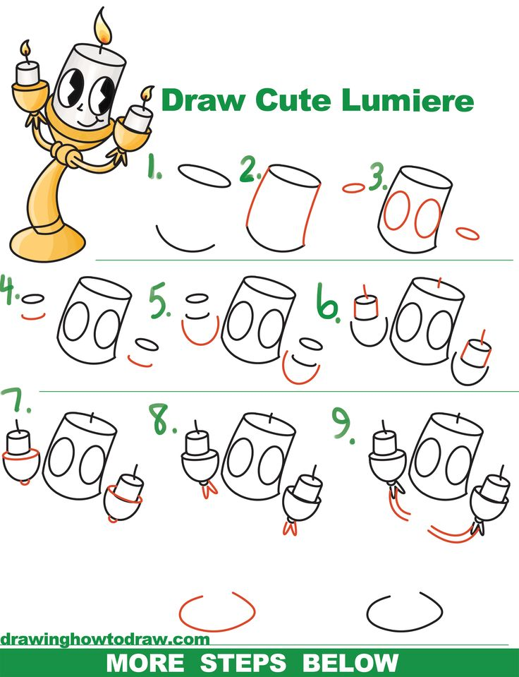 How To Draw Lumiere Cute Kawaii Chibi From Beauty And The Beast Easy Step