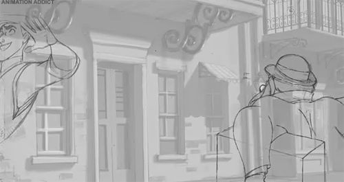 "This perfect pencil test from ""The Princess and the Frog."" 