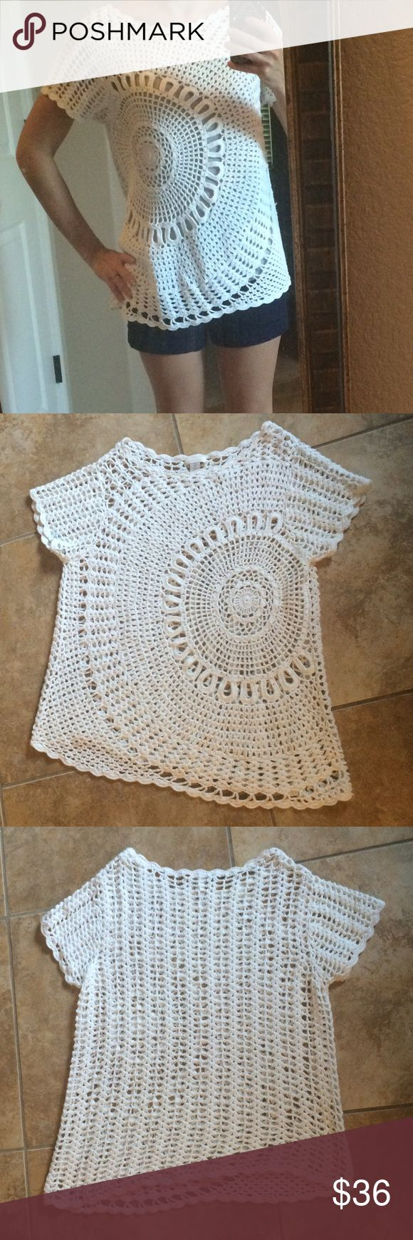Crochet boho sun top Beautiful top! New!! Crochet boho sun top, gorgeous pattern. Medium to thick weave, very nice quality. Brand is Chico's, size 2 which seems to fit like a loose small or a fitted medium is my guess. I am an XS and it's a little too big! Chico's Tops Blouses