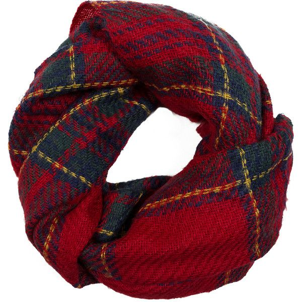 Fevrie Plaid Scarf ($36) ❤ liked on Polyvore featuring accessories, scarves, red, plaid shawl, plaid scarves, red scarves, tartan shawl and red shawl