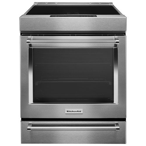 "KitchenAid 30"" 7.1 Cu. Ft. Self-Clean Convection Slide-In Smooth Top Range - Stainless Steel"