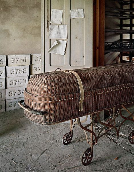 Part of Christopher Payne's, 'Asylum' series - a study of abandoned state mental institutions.: Wicker Baskets, States Hospitals, Graves Markers, Wicker Casket, Christopher Payne, Abandoned Hospitals, Lawrence States, Abandoned States, U.S. States