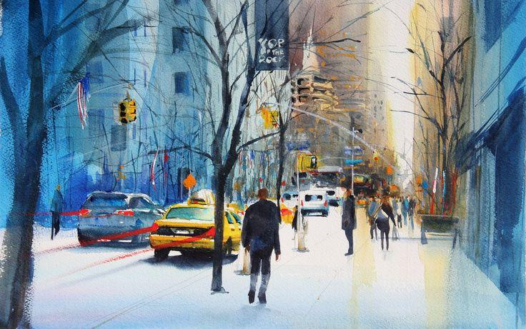 new york morning - #watercolor - #aquarelle - pasqualino ...