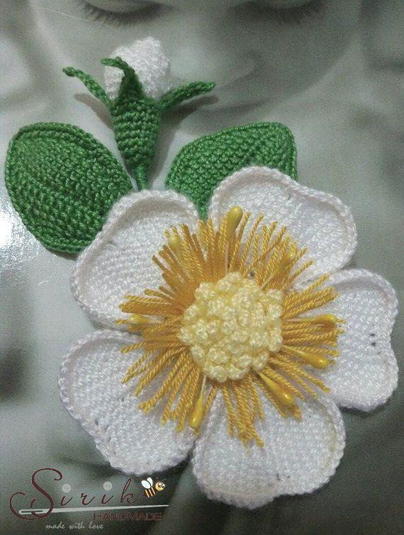 Crochet Brooch, Brooch Rose, Brooch Crochet Flower, Pin Crochet Flower Brooch, Tunisian crochet brooch.