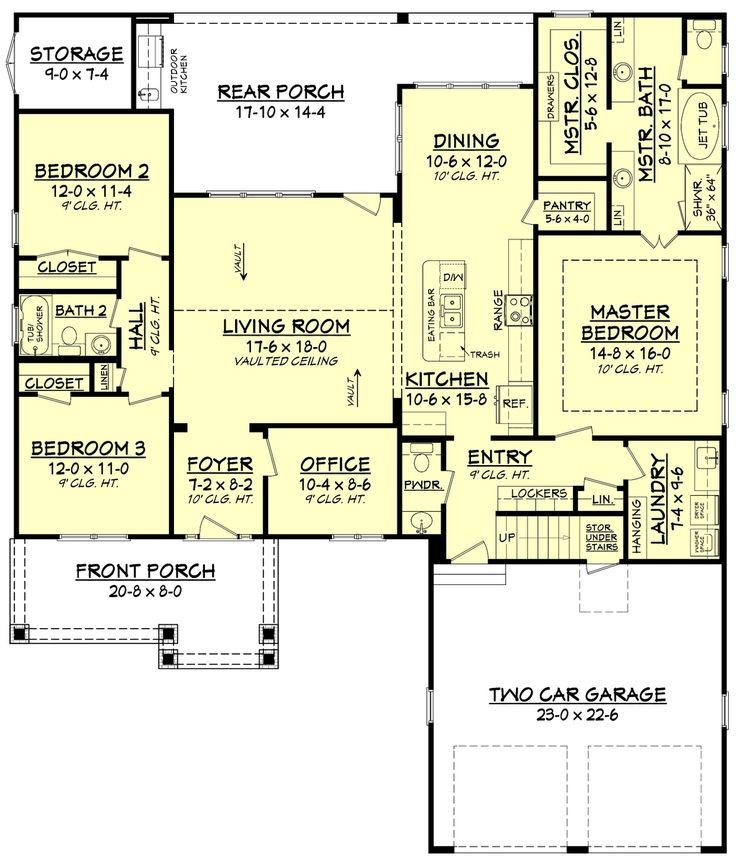 Craftsman Style House Plan - 3 Beds 2.5 Baths 2004 Sq/Ft Plan #430-140 Floor Plan - Main Floor Plan - Houseplans.com