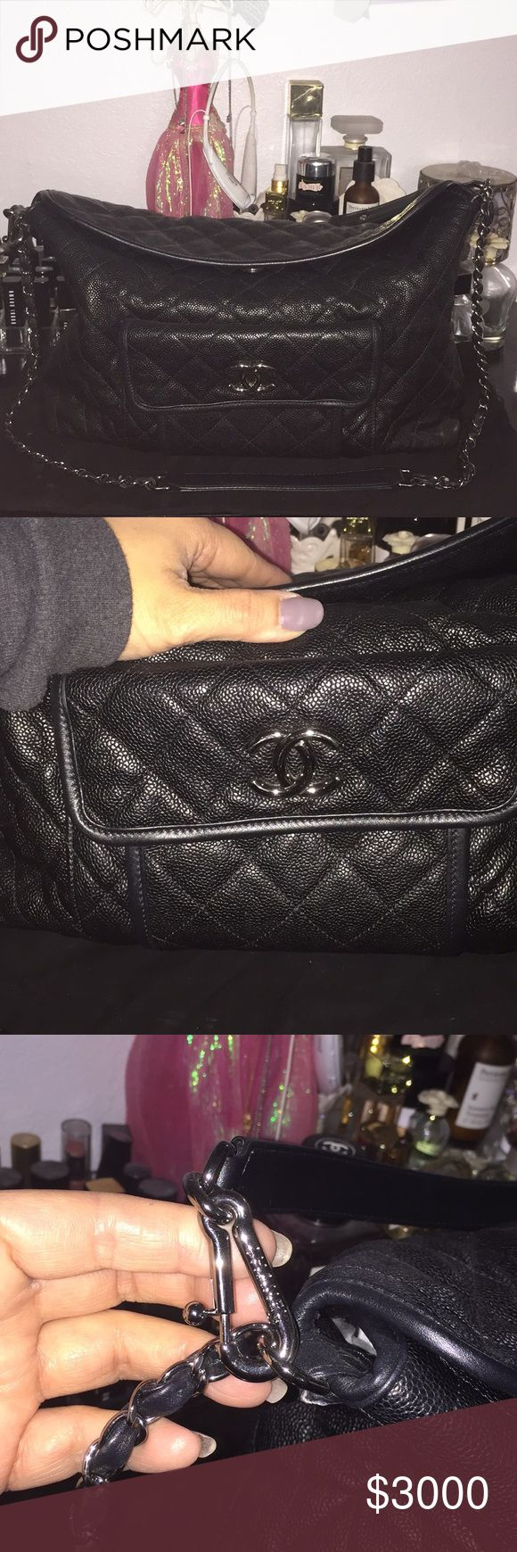 "💯% authentic Chanel bag with wallet It is in very good condition. Corners are lightly scuffy. Not noticeable unless you are looking for it. Comes with short and long straps. I will also include the original receipt. Complete set with matching wallet. No low ballers please. Measurements h 6"" w 13.5"", d 4.5 CHANEL Bags Shoulder Bags"