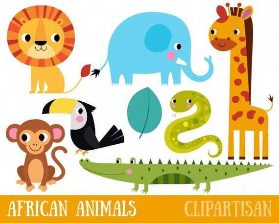 Cute African Animals Clipart Safari Animal Printable Etsy Animal Clipart African Animals Clip Art