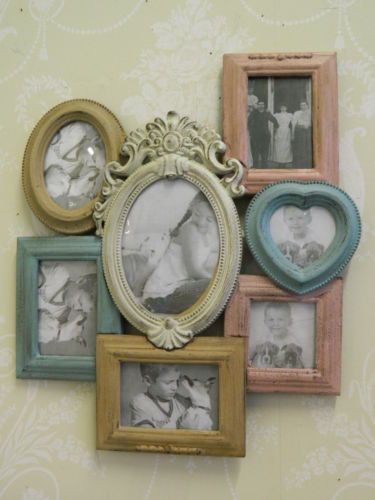 Look for antique garage sale frames to make something like this with large center frame for track/rainbow pic and guest signatures and the attach other frames for wedding and family pics Pastel Duck Egg Blue Pink Cream Shabby Chic Large French Country Wall Hanging Photo Frame