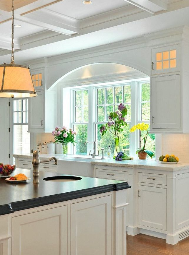 superior Kitchen Designs With Window Over Sink #1: Arched detail over sink, coffered ceiling, Farmhouse Kitchen Sink - Counter  Flush with Window