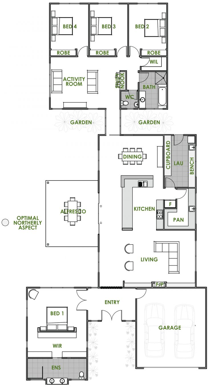 "Here's a floor plan which will ""provide optimal energy efficiency whilst at the same time offering a modern lifestyle with a variety of areas retreating or entertaining – all areas naturally linked together by sunlit breezeways."" This plan is a perfect layout for integrating the outside environment with garden beds situated all around the house. I like the good use of space with no waste anywhere. The Master is on the front, with the kids down the back. Imagine where the sun will be…"